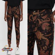 Desigual Printed Pants Flower Patterns Casual Style Cotton Long