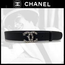 CHANEL ICON Star Casual Style Blended Fabrics Plain Leather Party Style