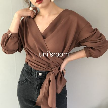 Shirts & Blouses Peplum Puffed Sleeves Long Sleeves Plain Medium Office Style 6