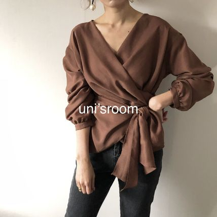 Shirts & Blouses Peplum Puffed Sleeves Long Sleeves Plain Medium Office Style