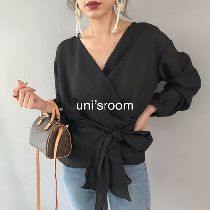 Shirts & Blouses Peplum Puffed Sleeves Long Sleeves Plain Medium Office Style 8