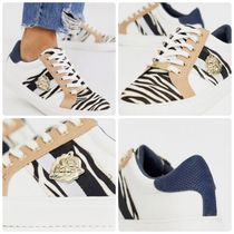 River Island Zebra Patterns Lace-up Casual Style Faux Fur Street Style