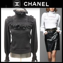 CHANEL Long Sleeves Plain Cotton Medium Party Style