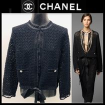 CHANEL Cable Knit Long Sleeves Plain Cotton Medium Party Style