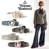 Vivienne Westwood Plain Leather Logo Belts