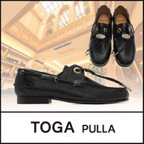 TOGA Platform Round Toe Casual Style Plain Leather Party Style