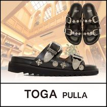 TOGA Open Toe Platform Casual Style Plain Leather Party Style