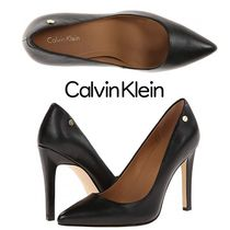 Calvin Klein Casual Style Plain Leather Pin Heels Office Style