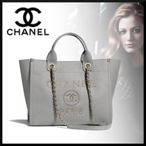 CHANEL Casual Style Calfskin Blended Fabrics Studded A4 2WAY Chain