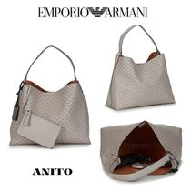 EMPORIO ARMANI Monogram Casual Style A4 Office Style Elegant Style Totes