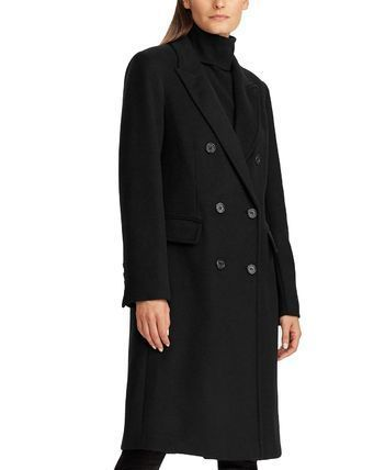 Ralph Lauren Wool Plain Long Office Style Elegant Style Wrap Coats