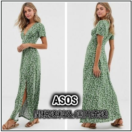 Flower Patterns Dots Casual Style Maxi Blended Fabrics