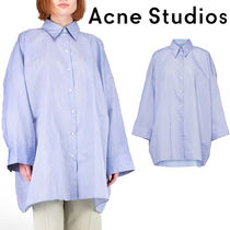 Acne Long Sleeves Plain Cotton Oversized Shirts & Blouses