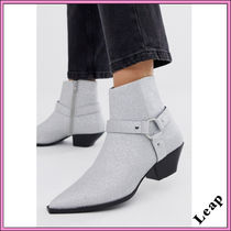 ASOS Cowboy Boots Casual Style Faux Fur Blended Fabrics