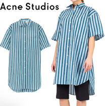 Acne Stripes Long Sleeves Cotton Oversized Shirts & Blouses
