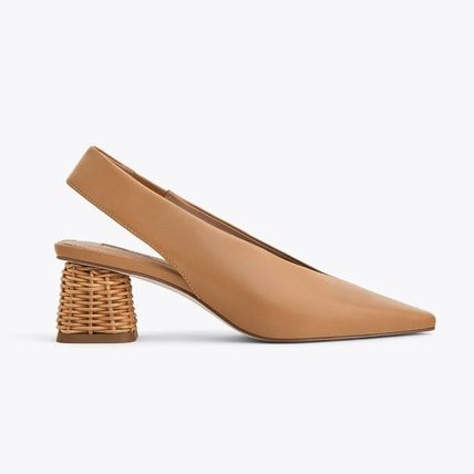 Leather Mules with Straw Heels