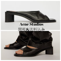 Acne Open Toe Casual Style Plain Leather Block Heels Party Style