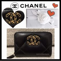 CHANEL MATELASSE Plain Leather Small Wallet Coin Cases