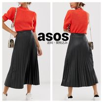 ASOS Casual Style Faux Fur Pleated Skirts Street Style Plain Long