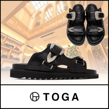Street Style Plain Leather Sports Sandals