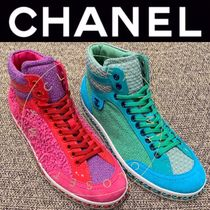 CHANEL ICON Unisex Suede Blended Fabrics Street Style Chain Plain