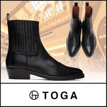 TOGA Straight Tip Street Style Plain Leather Chelsea Boots