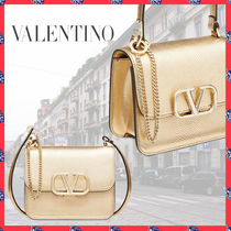 VALENTINO Chain Leather Party Style Elegant Style Crossbody Bridal