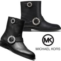 Michael Kors Round Toe Casual Style Plain Leather Block Heels With Jewels
