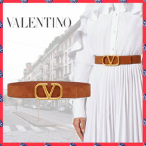 VALENTINO Casual Style Suede Plain Leather Office Style Elegant Style