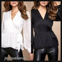 Lipsy Stripes Casual Style Chiffon Long Sleeves Party Style Lace