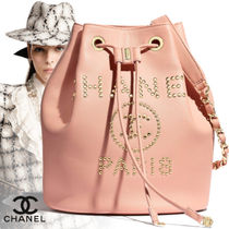 CHANEL Casual Style Calfskin Blended Fabrics Studded Street Style