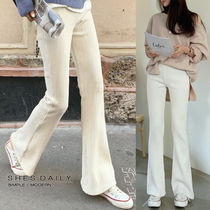 Casual Style Corduroy Cotton Long Wide Leg Pants