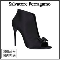Salvatore Ferragamo Open Toe Plain Leather Pin Heels Party Style