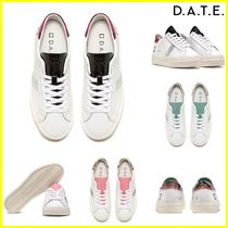 DATE Rubber Sole Casual Style Leather Python Low-Top Sneakers