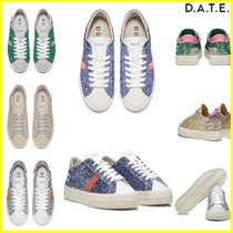 DATE Rubber Sole Casual Style Leather Low-Top Sneakers
