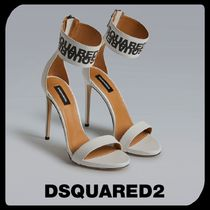 D SQUARED2 Open Toe Casual Style Street Style Plain Leather Pin Heels