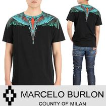 Marcelo Burlon Crew Neck Pullovers Street Style Cotton Short Sleeves