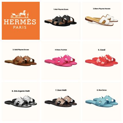 HERMES Oran Open Toe Casual Style Plain Leather Elegant Style Mules