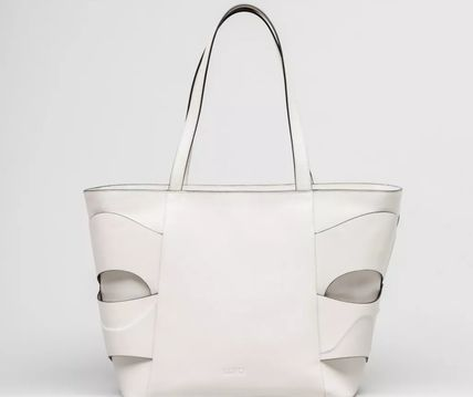 Casual Style Unisex A4 Plain Leather Office Style