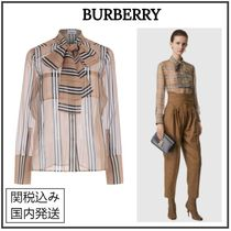 Burberry Other Check Patterns Casual Style Long Sleeves
