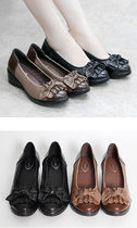 Round Toe Casual Style Plain Leather Wedge Pumps & Mules