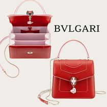 Bvlgari Casual Style 2WAY Plain Leather Elegant Style Shoulder Bags