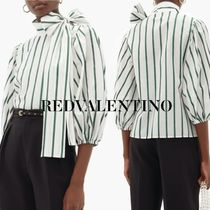 RED VALENTINO Stripes Casual Style Puffed Sleeves Cropped Medium