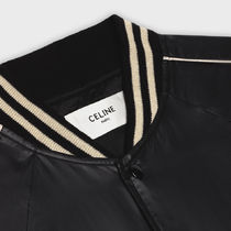 CELINE Short Stripes Nylon Blended Fabrics Bi-color Plain