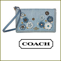 Coach Coach Hayden Flower Patterns Casual Style Denim Blended Fabrics Studded