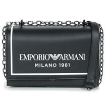 EMPORIO ARMANI Casual Style Calfskin Blended Fabrics Bi-color Chain Leather