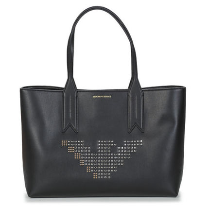 Casual Style A4 Plain Office Style Elegant Style Logo Totes