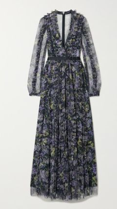 Flower Patterns Maxi V-Neck Long Sleeves Long Dresses