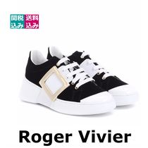 Roger Vivier Round Toe Rubber Sole Lace-up Casual Style Blended Fabrics
