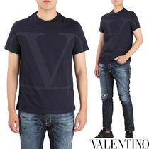 VALENTINO Crew Neck Pullovers Street Style Long Sleeves Cotton